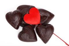 Chocolats en tant que coeurs Images stock