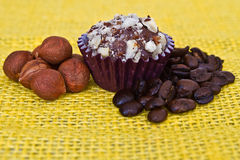 Chocollat turflle coffe and nuts flavor. Royalty Free Stock Photo
