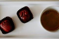 chocololatte dolci di due e del caffè Fotografia Stock