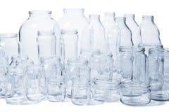 Chocs et bouteilles en verre Images stock