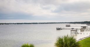 Choctawhatchee Bay in Ft. Walton Beach, Florida. A calm Choctawhatchee Bay in Ft. Walton Beach, Florida in the wake of Hurricane Irma. Image taken on 06 Royalty Free Stock Images