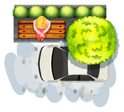 Chodniczek i samochód Zdjęcia Royalty Free