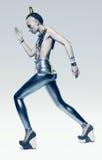 Chodząca astronautyczna kobieta w srebnym kostiumu royalty ilustracja