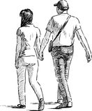 Chodząca para royalty ilustracja
