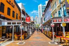 Chodząca ulica przy aleją historycznie ikonowi projektujący budynki lokalizować w Porcelanowym miasteczku, Singapur zdjęcia royalty free