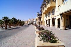Chodząca ulica wzdłuż dennego wybrzeża Sahl Hasheesh Egipt Fotografia Stock