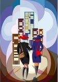 Chodzące kobiety w mieście - ilustracja Zdjęcie Stock