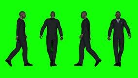 Chodzący Biznesowy mężczyzna (Zielony ekran) royalty ilustracja