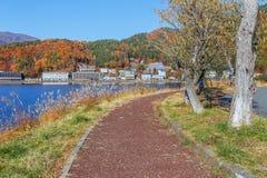 Chodzący kurs Jeziorny Kawaguchi zdjęcie stock