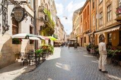 Chodząca ulica w starym miasteczku Zdjęcie Royalty Free