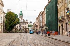 Chodząca ulica w starym miasteczku Fotografia Royalty Free