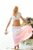 chodząca wodna kobieta Obrazy Royalty Free