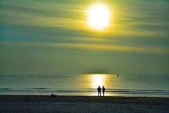 Chodzić i opowiadać na plaży z psem na pogodnym jesień dniu zdjęcia stock