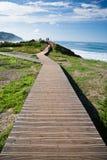 Chodzić na footbridge łączy ludzi na widoku punkcie w scenicznym seascape Obrazy Royalty Free