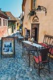 Chodzić wokoło historycznego miasteczka Sighisoara Miasto w którym był urodzony Vlad Tepes, Dracula obraz royalty free