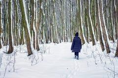 Chodzić w zimy lasowej Osamotnionej dziewczynie w lesie w w zdjęcie royalty free