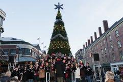 Choeur pour Noël au port maritime dans NYC Image libre de droits