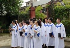 Choeurs d'église préparant Photos libres de droits