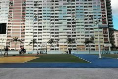 Choi Hung Estate. Basketball field, Architecture, rainbow buildings, Hong Kong Stock Image