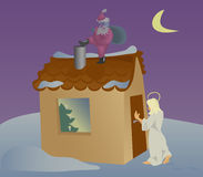 Choice. At night before Christmas the angel comes but for it do not wait Royalty Free Stock Image