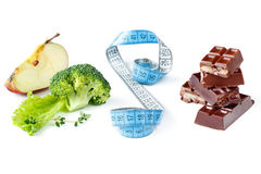 Choice. Healthy meal and chocolate.  What your choice Stock Photography