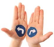 Choice. Hands with the drawn traffic signs as a designator of turn Royalty Free Stock Images