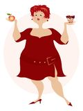 Choice. Pretty plump lady is doing her decision what to eat Vector Illustration