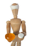 Choice. Wood mannequin choose orange or white pill Stock Photos