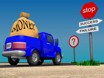 Choice. Lorry in front of crossroad, 3d image Stock Images