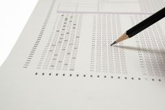 Choice answer sheet and pencil stock photography