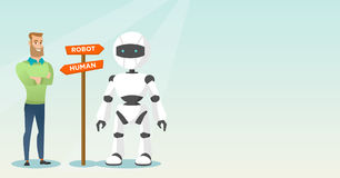 Choice between artificial intelligence and human. Young caucasian man and robot standing at road sign with two pathways - human and robot. Concept of choice Stock Photo
