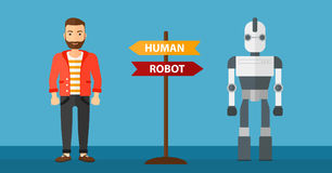 Choice between artificial intelligence and human. royalty free illustration
