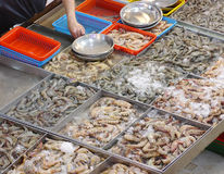 Choice of Assorted Prawns in Wet Market. Choice of assorted fresh prawns iced for sale in wet market seafood stall Stock Photo
