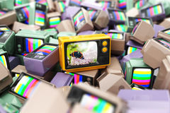 Choice of best channel concept. Heap of vintage tv.  Conceptual Royalty Free Stock Images