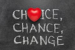 Choice, chance, change. Words handwritten on blackboard with heart symbol instead O royalty free stock image