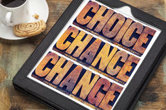 Choice, chance and change on tablet. Choice, chance and change word abstract - 3 Cs in life concept - text in letterpress wood type printing blocks on a digital royalty free stock images