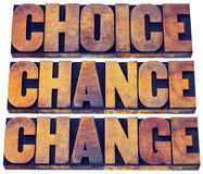 Choice, chance and change word abstract. 3 Cs in life concept  - isolated text in letterpress wood type printing blocks stained by color inks Royalty Free Stock Image