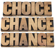 Choice, chance and change. Words - 3 Cs in life concept  - isolated text in letterpress wood type Stock Image