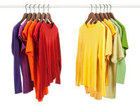 Choice of clothes, different colors Stock Photo
