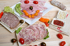 Choice of cold cuts Royalty Free Stock Photo