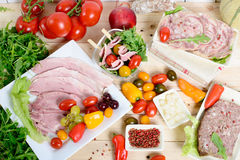 Choice of cold cuts Stock Photos