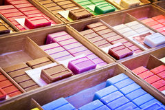 Choice of colorful french soaps. On a market Royalty Free Stock Photo