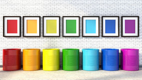 Choice of colors for painting a room. colors of the rainbow Stock Photography