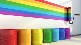 Choice of colors for painting a room. colors of the rainbow Royalty Free Stock Photography
