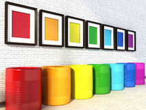 Choice of colors for painting a room. colors of the rainbow Stock Images
