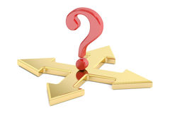 Choice concept with arrows and question mark, 3D rendering Stock Images