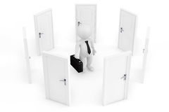 Choice concept. 3d businessman surrounded by doors. On a white background Stock Images