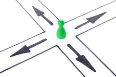 Choice concept. A figure can choice between different directions Stock Photos