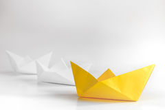Choice concept paper boats on white background Royalty Free Stock Image