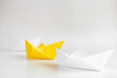 Choice concept paper boats on white background Royalty Free Stock Photos